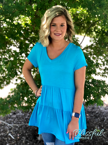 Aqua V-Neck Babydoll Tunic Top