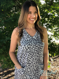 Grey Leopard Front Pocket Dress