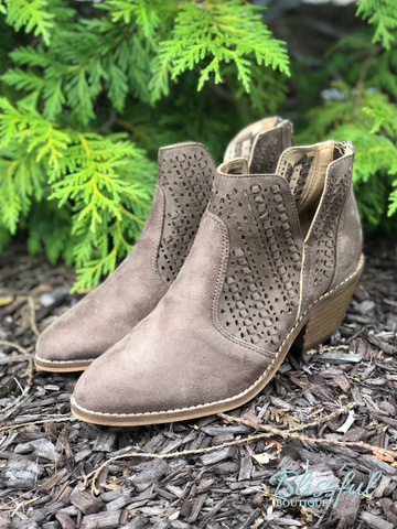 Taupe Lace Cute Detail Bootie