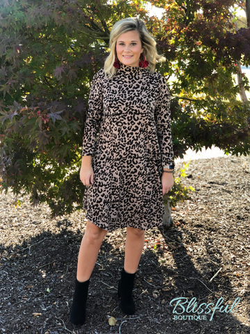 Taupe Leopard Mock Neck Swing Dress