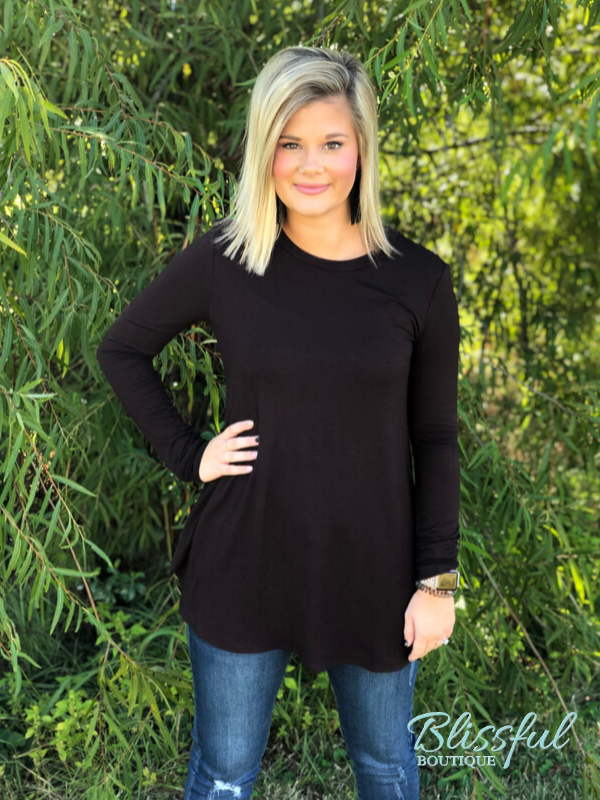Deep Brown Long Sleeve Layering Tunic