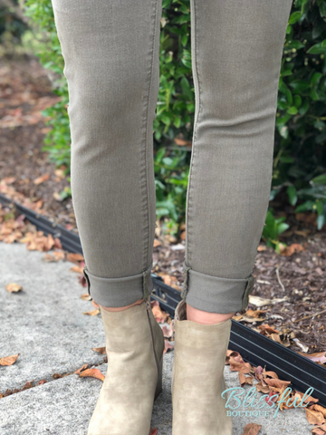 Sarah Light Olive Skinny Denim