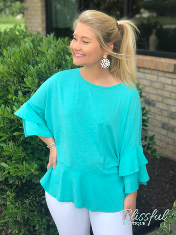Jade Tiered Ruffle Sleeve Top
