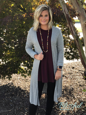 Heather Grey Midi Side Slit Cardigan