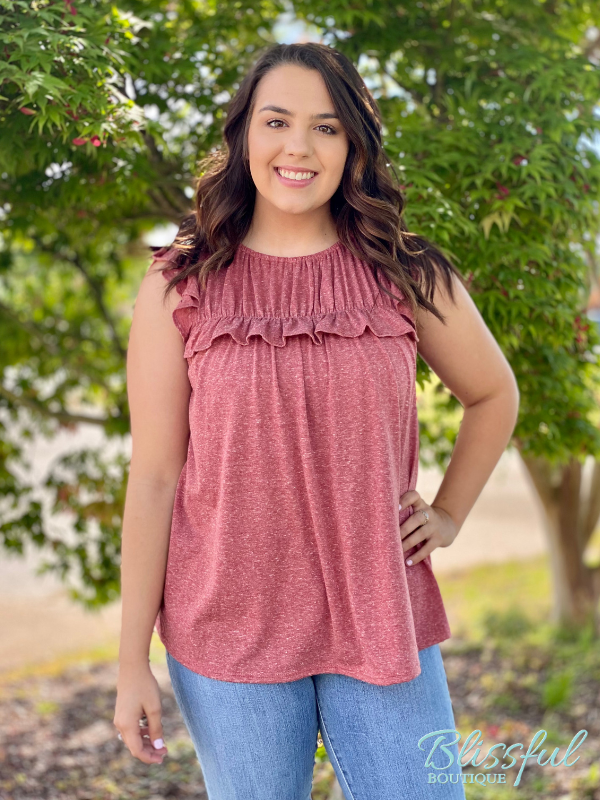 Cranberry Heather Shirring Sleeveless Top