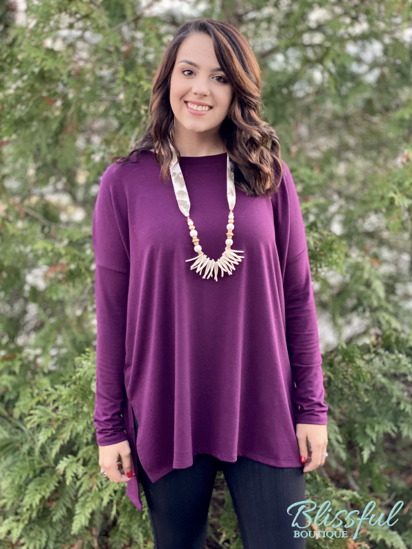 Deep Plum Oversized Dolman Sleeve Top