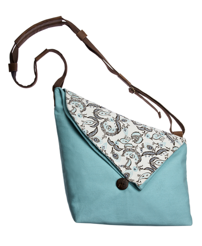 Mint & Paisley Large Canvas Crossbody