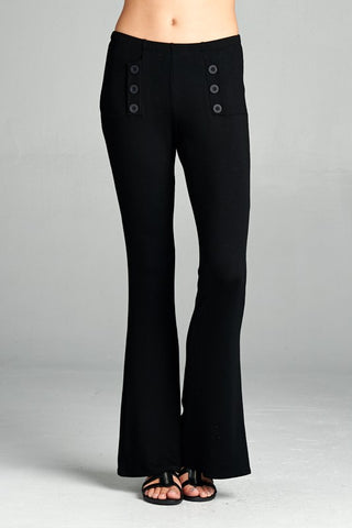 Black Fitted French Terry Palazzo Pants w/ Button Detail