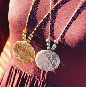 Engraved Beaded Medallion Monogram Necklace