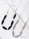 Flat Oval Wood Beads w/ Gold Accent Necklace