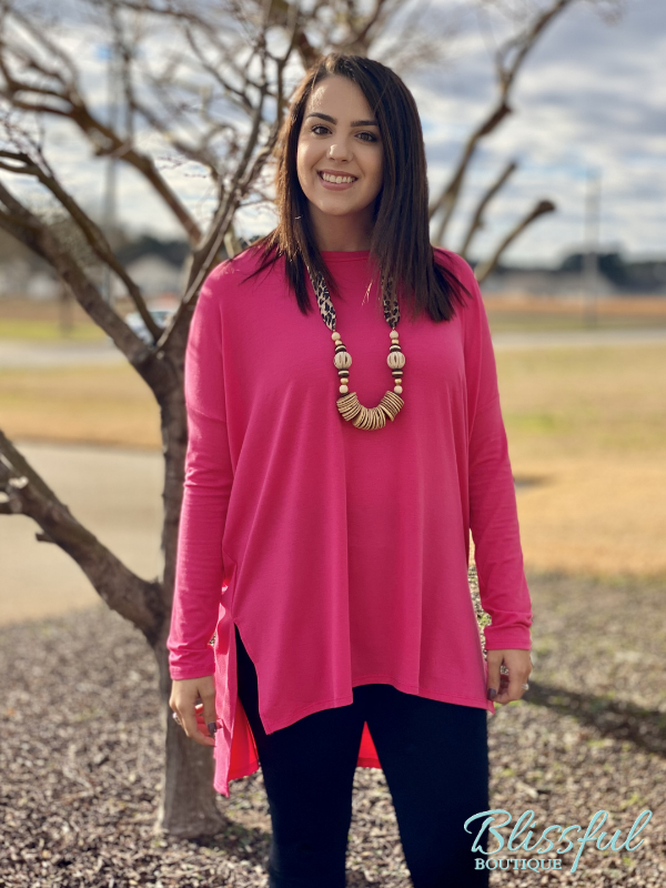 Fuchsia Oversized Dolman Sleeve Top