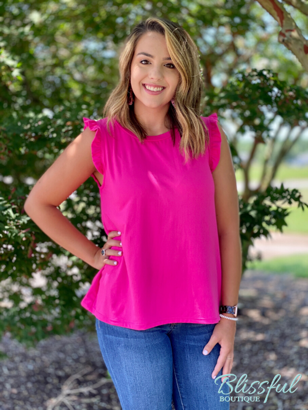 Fuchsia Ruffle Trim Top