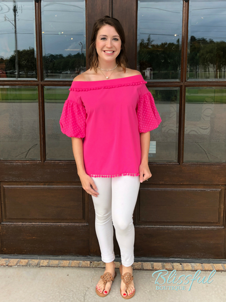 Pink Off-the-Shoulder Top w/ PomPom Accents