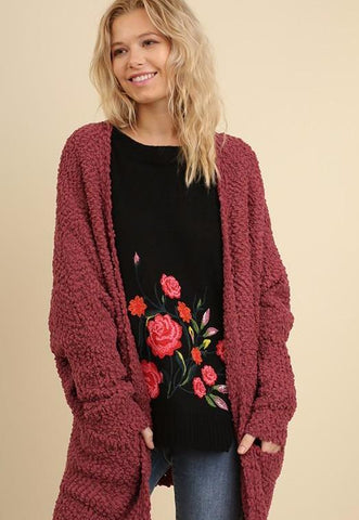 Marsala Open Front Sweater with Pockets