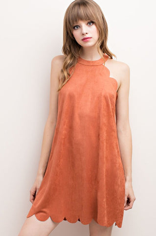Rust Faux Suede Scalloped Hem Halter Dress