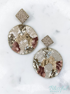 Gold Camo Sequin Disk Earrings