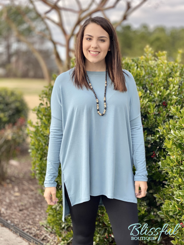 Blue Grey Oversized Dolman Sleeve Top