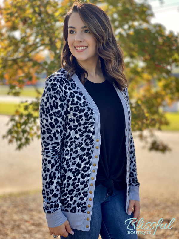 Grey Leopard Snap Sweater Cardigan
