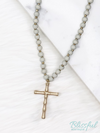 Wood Beaded Bamboo Cross Necklace