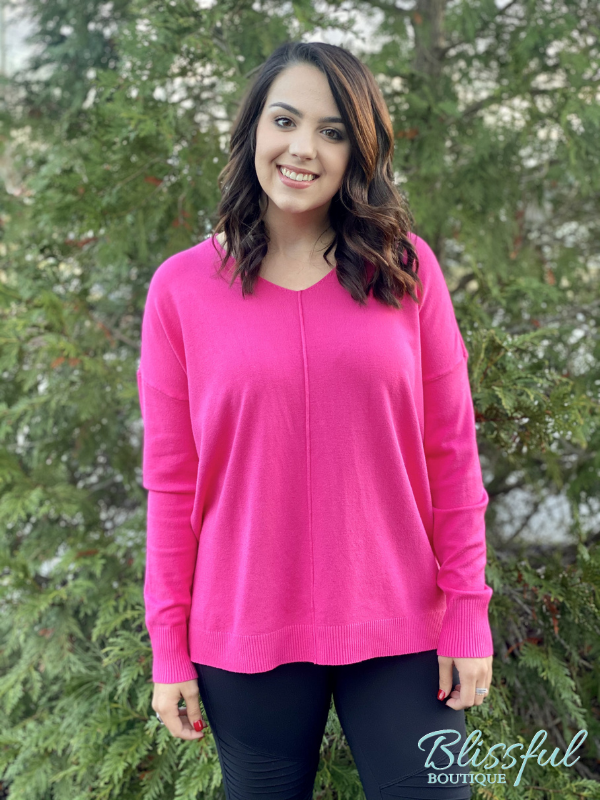 Hot Pink V-Neck Front Seam Soft Sweater