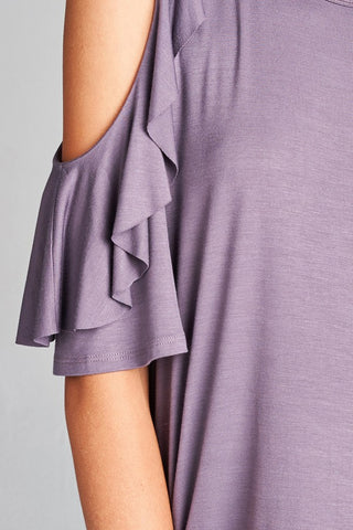 Ash Purple Ruffled Sleeve Cold Shoulder Top