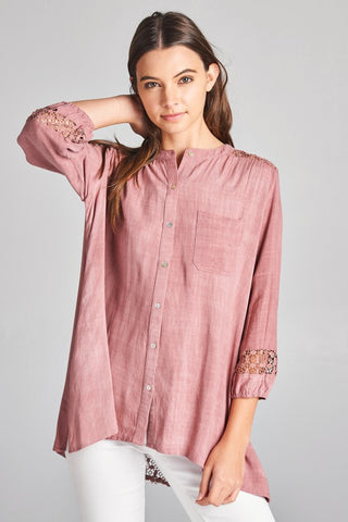 Mauve Washed Blouse w/ Lace Back