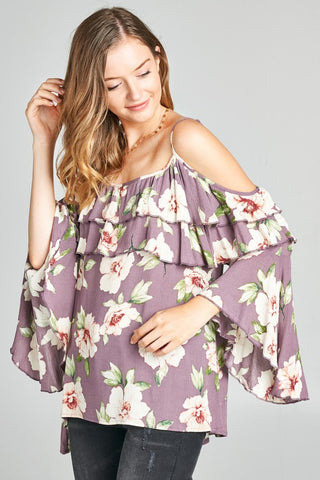 Orchid Floral Cold Shoulder Top