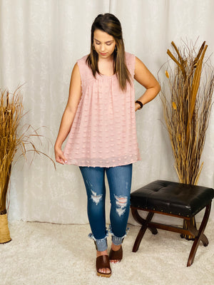 Dusty Rose Sleeveless Sheered Dot Top