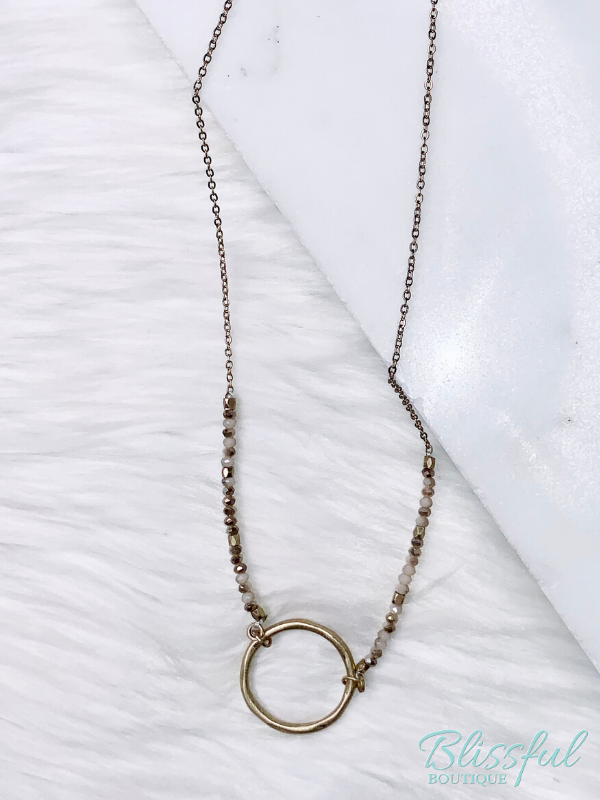 Crystals & Gold Circle Necklace