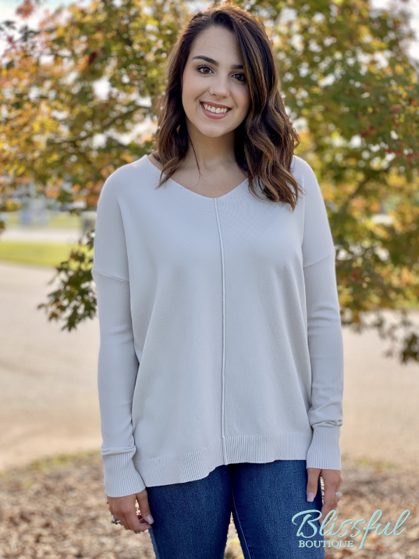 Ivory V-Neck Front Seam Soft Sweater