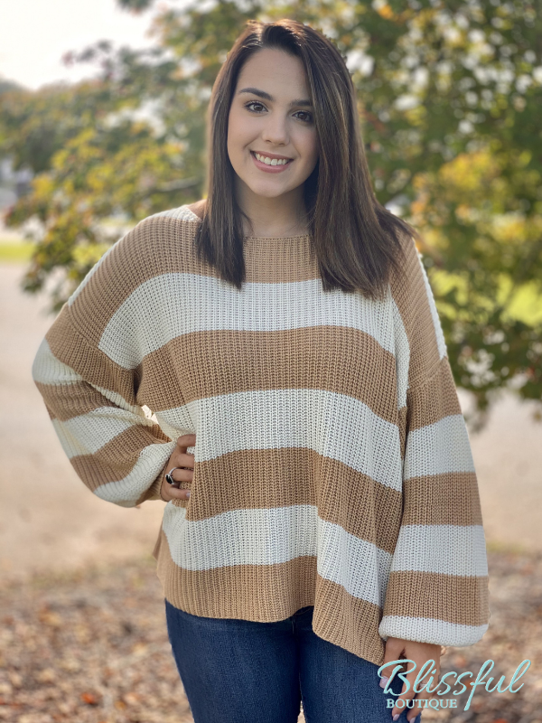 Cream/Tan Stripe Sweater