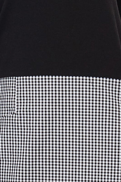Black French Terry & Gingham Mix Dress - Blissful Boutique