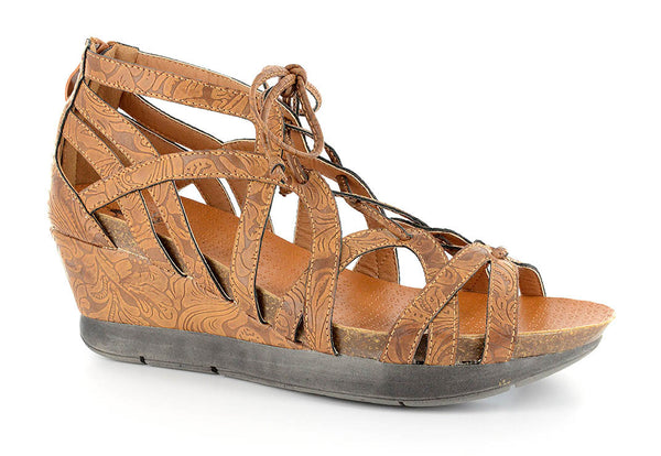 Brown Lace Wedge Sandals
