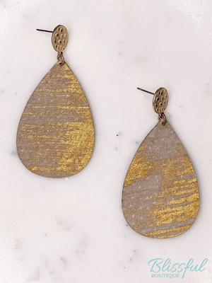 Leather Brushed Teardrop Earrings
