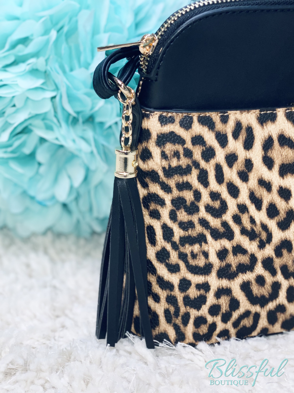 Leopard Front Pocket Dome Crossbody w/ Tassel