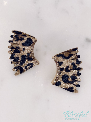 Leopard Leather Wing Earrings
