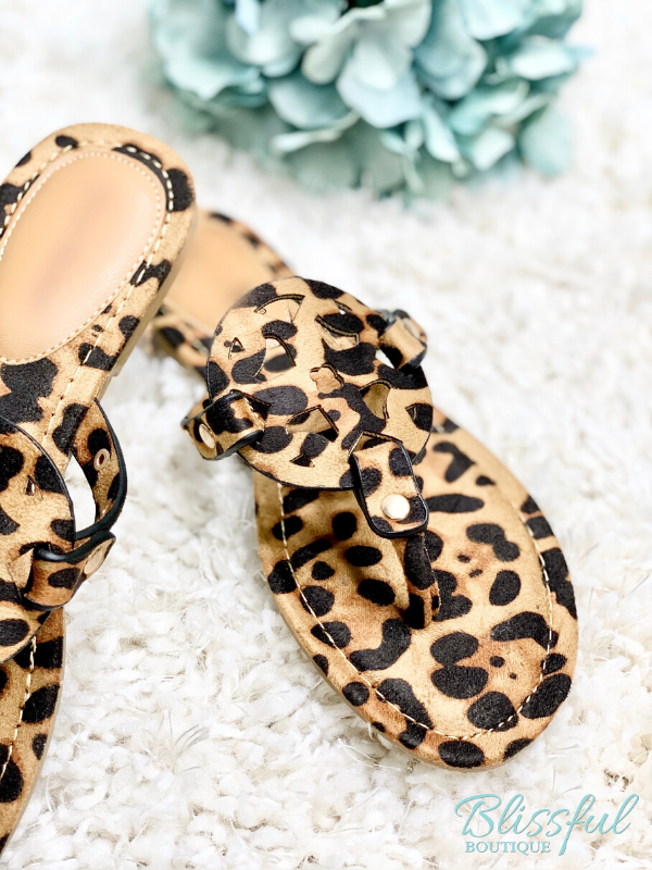 Leopard Suede Cut-Out Detail Sandal