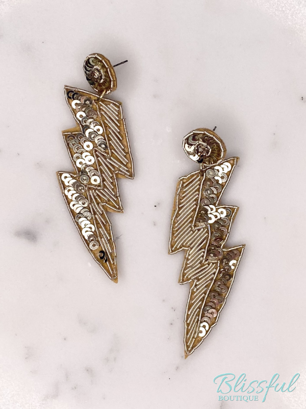 Lightning Half Sequin Earrings