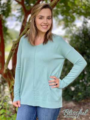 Lt Sage V-Neck Front Seam Soft Sweater