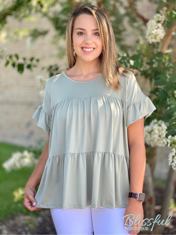 Sage Short Sleeve Babydoll Top