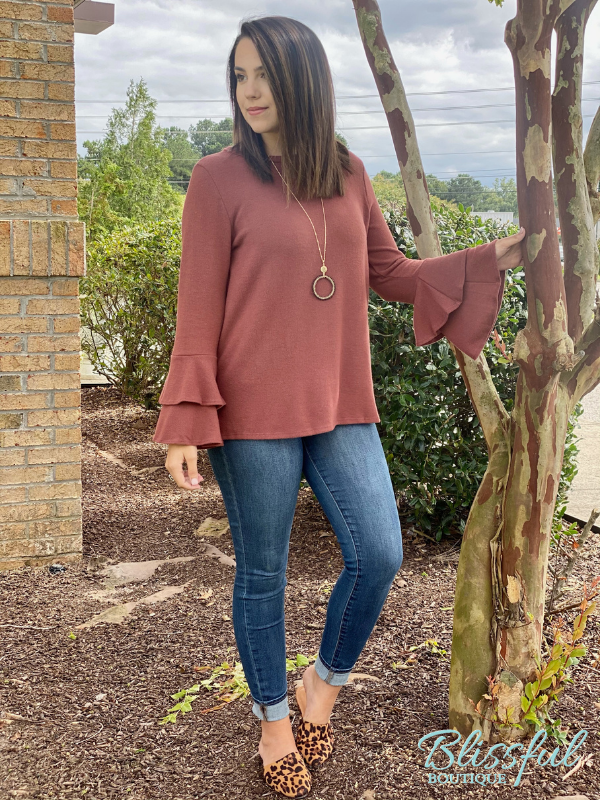 Marsala Brushed Bell Sleeve Top