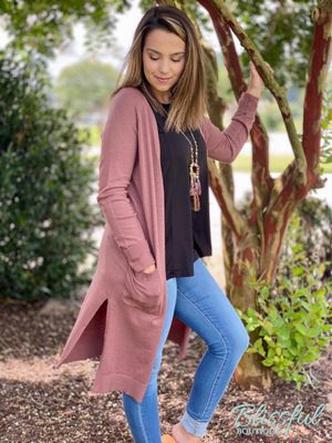 Mauve Duster Sweater Cardigan