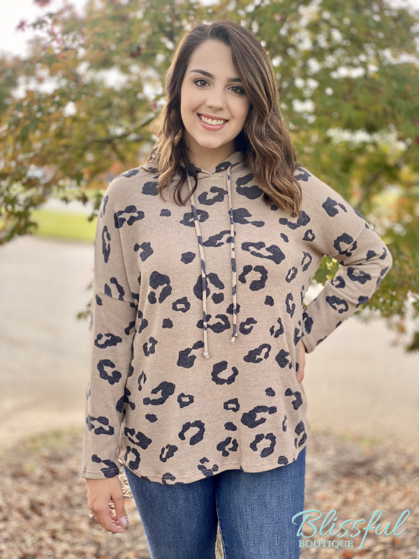 Mocha Animal Print Hooded Brushed Top