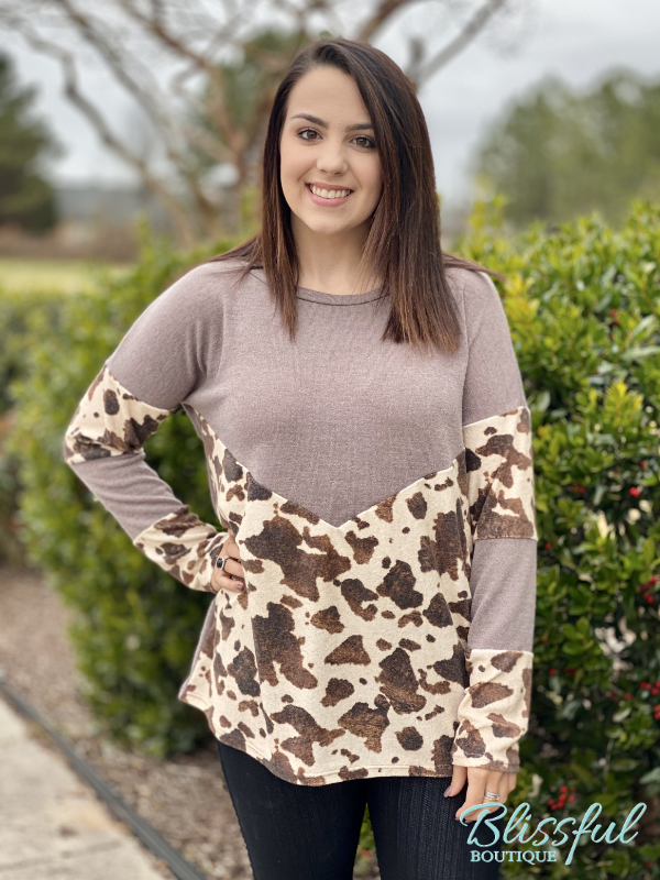 Mocha Cow Print Color Block Top