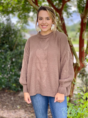 Mocha Cable Knit Balloon Sleeve Sweater