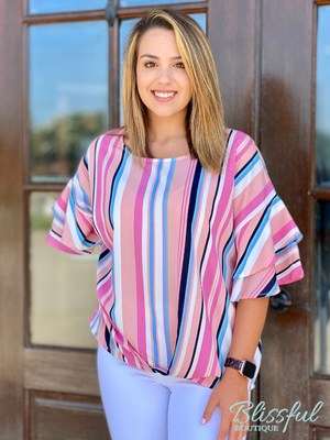 Multicolor Striped Top w/ Layered Ruffle Sleeves