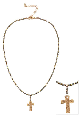 Crystal Necklace w/ Gold Cross
