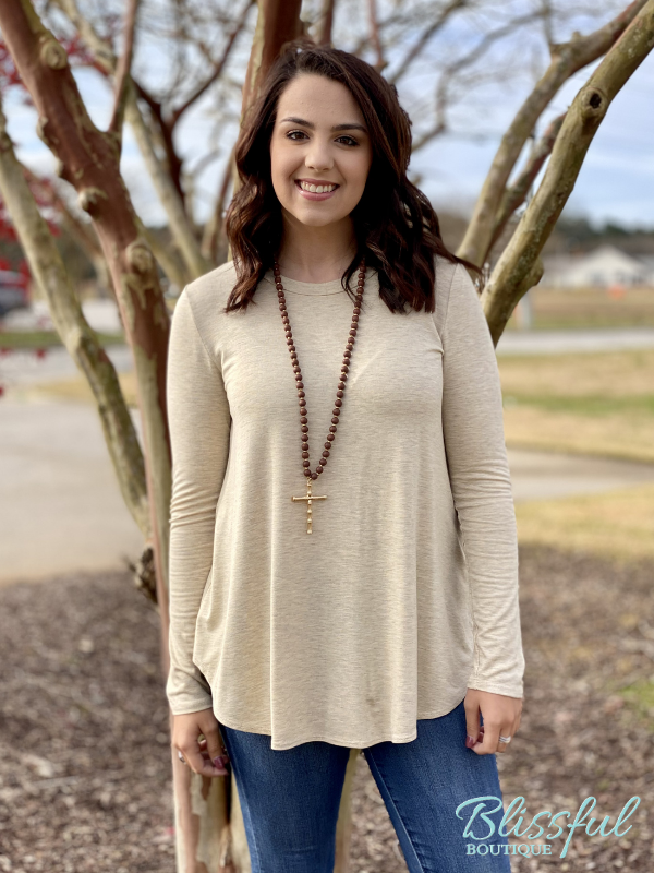 Oatmeal Long Sleeve Layering Tunic