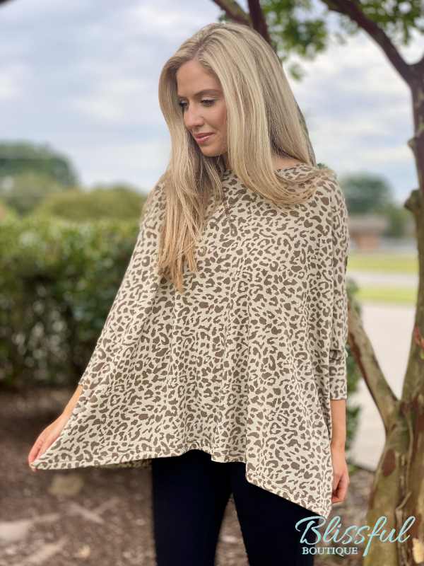 Olive Animal Print Dolman Sleeve Top