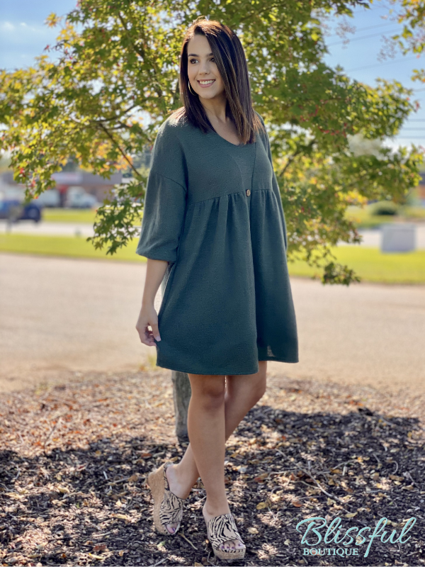 Olive Button Detail 3/4 Sleeve Dress